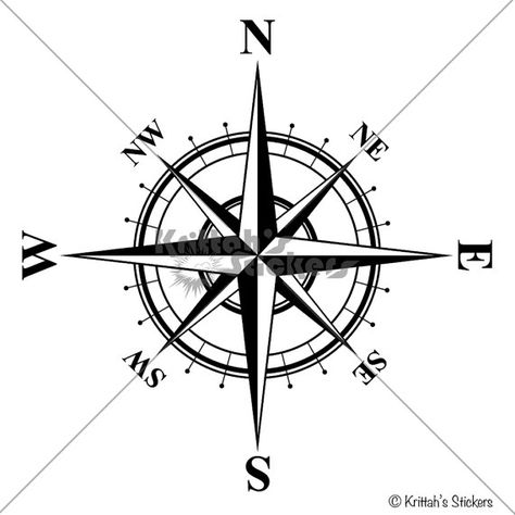 Compass Rose with Times Font Vinyl Wall Decal by KrittahStickers