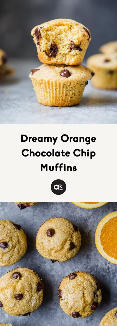 The dreamiest orange chocolate chip muffins made with fresh orange juice and orange zest! These healthy muffins are simple to make and the perfect treat. #muffins #healthymuffins #heatlhysnack #snackideas #breakfastideas #orange #chocolatechip