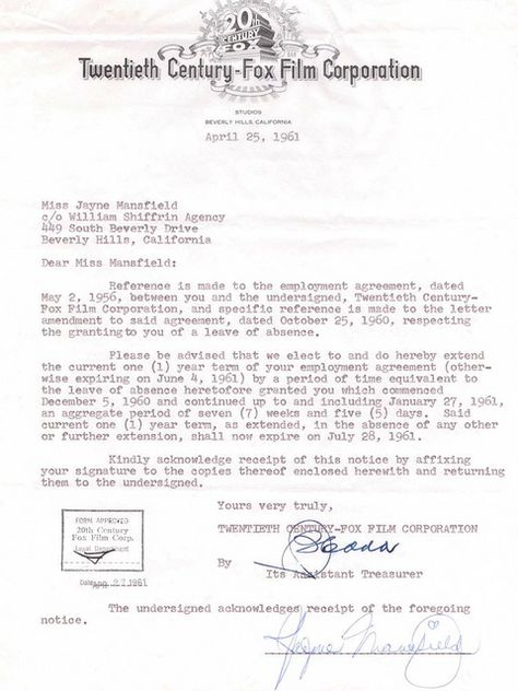 Jayne Mansfield signed contract Autographs Pinterest Signed - shareholder agreement