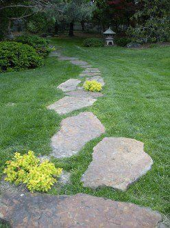 Gallery Of Paths In Gardens Take A Stroll With Me Steppingstonespathway In 2020 Landscaping With Rocks Walkways Paths Backyard Grass Landscaping