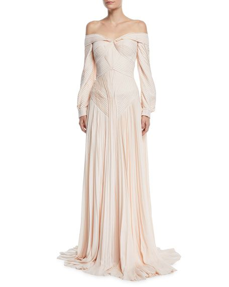 Zac Posen Off The Shoulder Pleated Long Sleeve Gown Renaissance