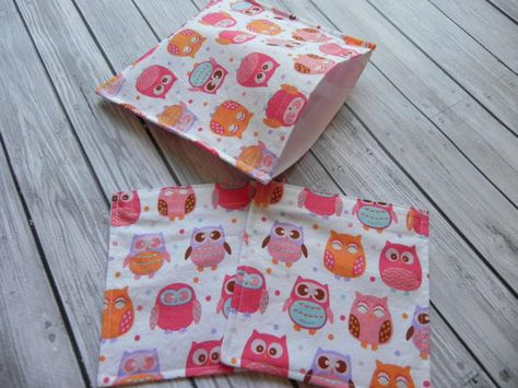 Code BTS12 free shipping. Set of 3 Reusable Lunch Bags  Owls by ChestnutDesigns on Etsy, $12.00