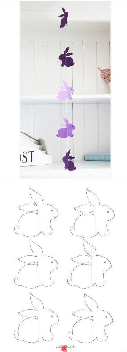 Hasengirlande für Ostern mit Vorlage zum Ausdrucken! #diy #basteln: