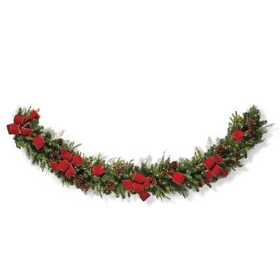 Christmas Cheer Cordless Garland With Bow Frontgate Christmas Cheer Christmas Greenery Christmas