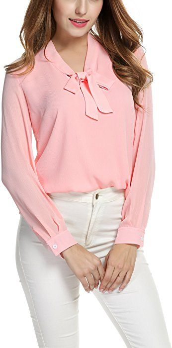 09da966e4e12 ACEVOG Womens Bow Tie Neck Long Sleeve Office Work Blush Chiffon Blouse  Shirts, Pink, Small at Amazon Women's Clothing store:
