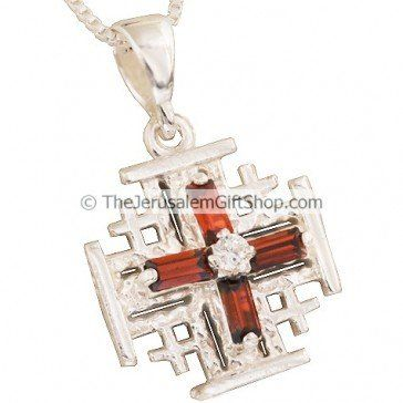Strikingly designed sterling silver 'Jerusalem Cross' Pendant with 'red crystal' cross design and 'Jerusalem' stamped on the reverse side.