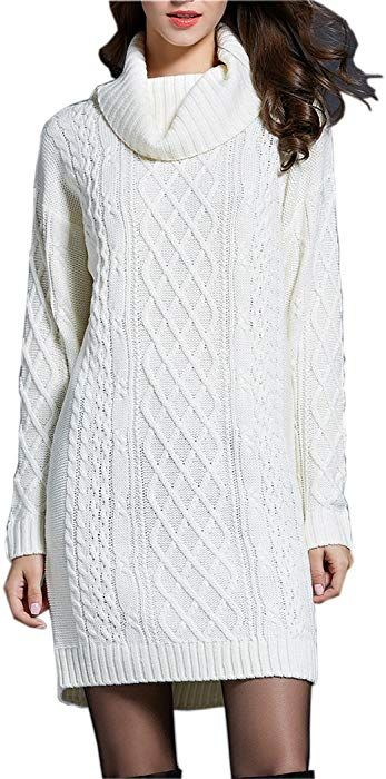 73f49d02638 NUTEXROL Women's Long Sleeve Turtleneck Knit Thick Cable Pullover ...