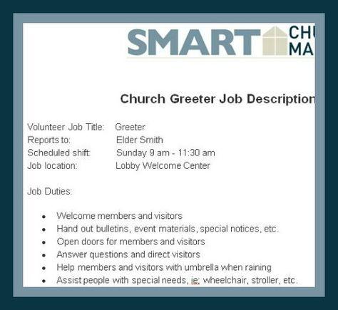 Smart Church Management Volunteer Jobs Job Description Volunteer