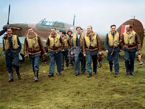 Pilots Of No 303 Polish Squadron Raf With One Of Their Hawker