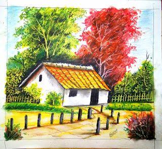 Easy Drawings For Beginners Oil Pastel Drawings Landscape Drawing Easy Easy Landscape Paintings