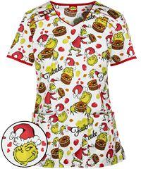 569bc2087f1 Dr. Suess Women's Fashion Collection Mr. Grinch V-Neck Scrub Top ...