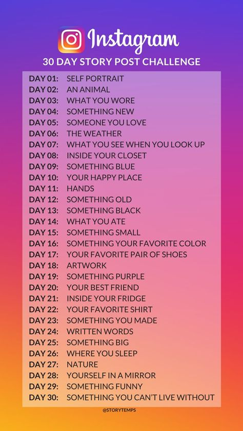 30 day Instagram story post challenge - ideas for Instagram stories