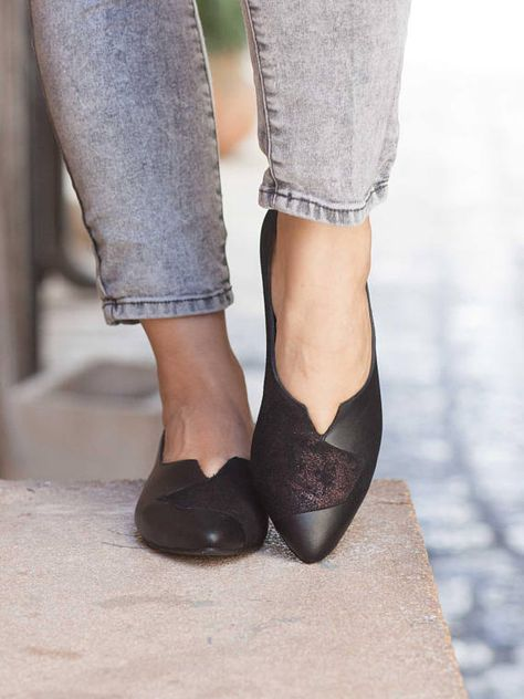 Women Leather Shoes, Leather Flats, Flat Shoes, Black Shoes
