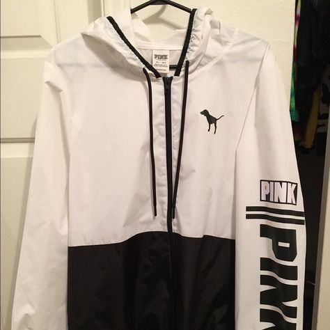 Victoria's Secret PINK B&W Windbreaker Jacket Black and White Windbreaker/Rain Hoodie absolutely NEVER been used. Size M-L made of 100% polyamide, a nylon-like material. Like new. PINK Victoria's Secret Jackets & Coats