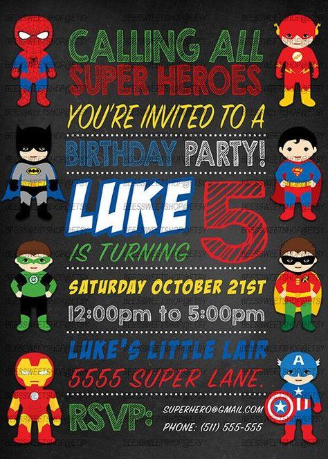Ideas De Invitaciones Para Fiesta Infantil De Super Héroes