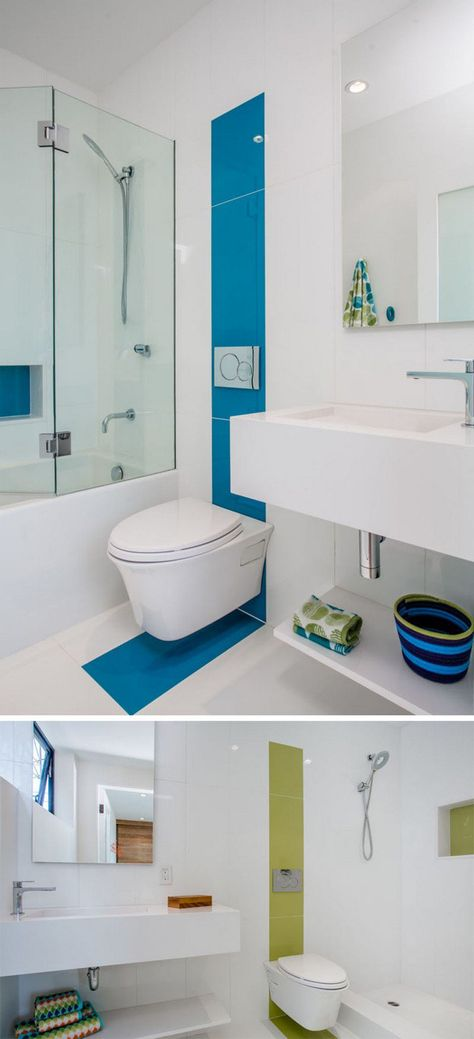salle de bains moderne avec carrelage mural en blanc, vert et bleu ...
