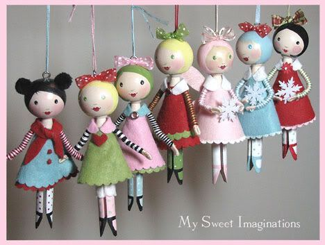 Clothespin doll ornaments