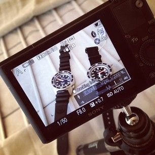 Filming a new video for our Youtube channel to show the differences between the new new #Squale Satinato and the now sold out Super Matte #watchnerd #wornandwound #womw #watchfreaks