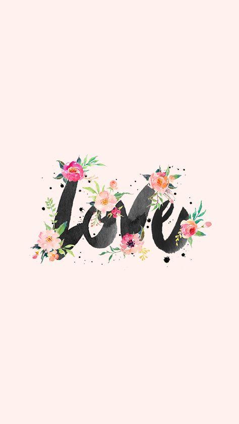 Blush pink black watercolour floral Love iphone phone background wallpaper lock screen