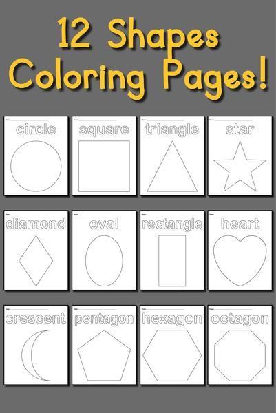 12 Shapes Coloring Pages Shapes Preschool Shape Coloring Pages Shape Tracing Worksheets