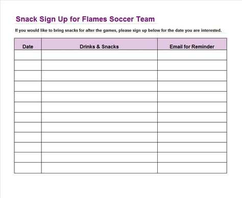 Sign-up Sheet Template 22 Information sheets Pinterest