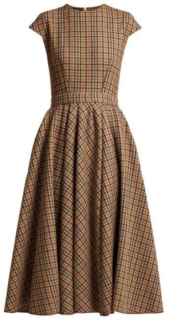 Rochas Checked Wool Blend Dress - Womens - Brown Multi
