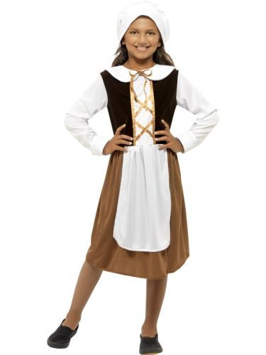 Kids Girls Poor Tudor Girl Costume Victorian Childs Fancy Dress Outfit Book Week