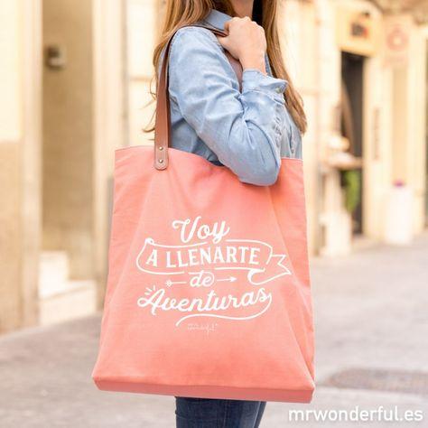 Regalo original embalado en caja kraft Bolso casual para mujer. Bolso para compras Bolso de tela tote bag Bolsa para el mercado
