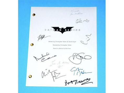 Batman Begins 2005 Movie Script Autographed: Christopher Nolan, Christian Bale, Liam Neeson, Katie Holmes, Gary Oldman, Morgan Freeman