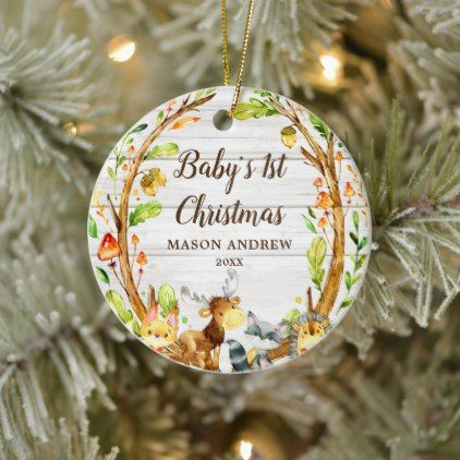 Rustic Woodland Animals Baby S First Christmas Ceramic Ornament Zazzle Com Baby Christmas Ornaments Baby First Christmas Ornament Baby S 1st Christmas Ornament