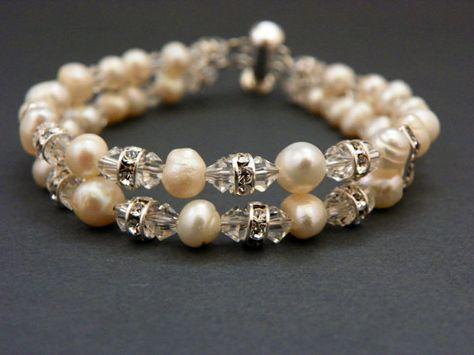 Wedding Bracelet Freshwater Pearls Swarovski by EstyloJewelry
