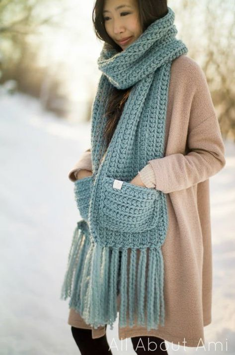 Crochet this beginner-friendly statement scarf using Wool-Ease Thick & Quick Yarn! Free pattern & tutorial available for this scarf with cozy pockets! Crochet Scarves, Crochet Shawl, Crochet Clothes, Knit Crochet, Crochet Granny, Crochet Vests, Crochet Cape, Crochet Edgings, Knitted Shawls