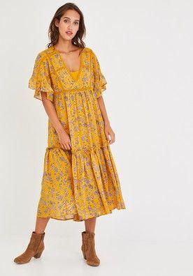 Longue robe évasée Femme Rouge Robes Promod