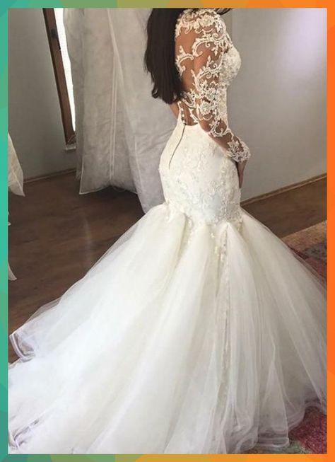 Lace Wedding Dresses, Attractive Tulle & Organza Sheer Scoop Neckline Mermaid Wedding Dress With Lace Appliques & Beadings AdasBridal<br />#AdasBridal #Appliques #Attractive #Beadings #dress #Dresses #Lace #Mermaid #Neckline #Organza #Scoop #Sheer #tulle #Wedding