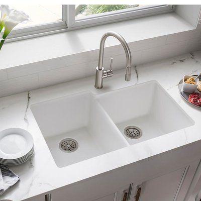 Elkay Quartz Classic 33 L X 21 W Double Basin Undermount Kitchen Sink Undermount Kitchen Sinks Porcelain Kitchen Sink Sink Porcelain undermount kitchen sink
