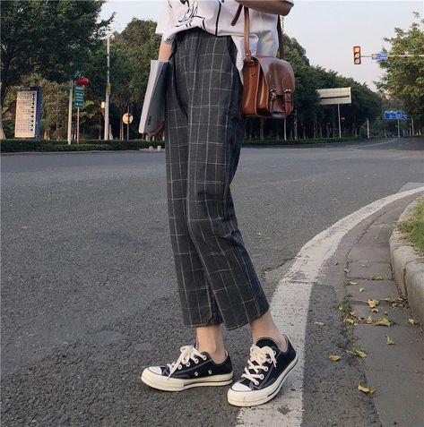 Buy Princessy Drawcord Plaid Pants | YesStyle