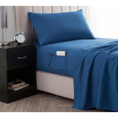 Ebern Designs Marnell Bedside Pocket Sheet Set Size Twin Color Blue Twin Xl Sheet Sets Bedside Pocket Sheet Sets