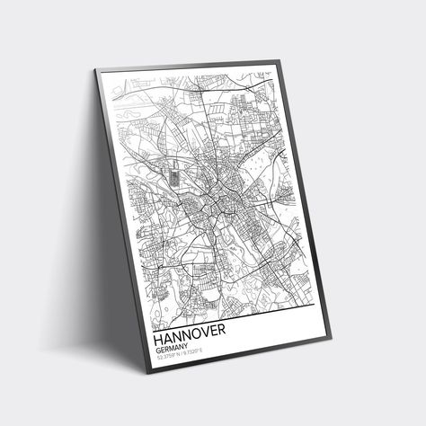 Hannover map poster print wall art Germany t printable