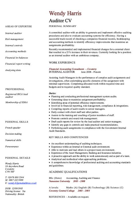 Internal Auditor Resume Sample - http\/\/resumesdesign\/internal - internal auditor resume