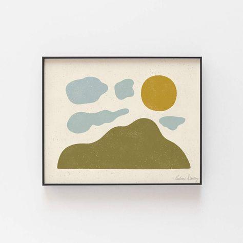 Mountain Cloud Sun Wall Art Print