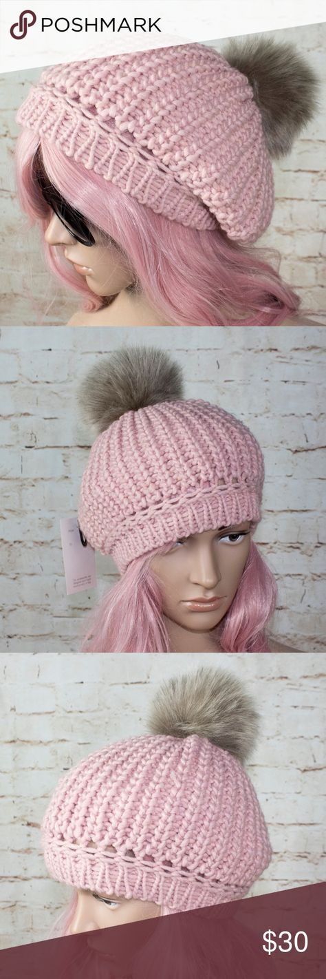 53100554f3d Pink knit furry pom winter hat Pink beanie with furry pom pom on top Made in  Italy 90% acrylic 10% wool Eco fox 93% acrylic 7% polyester pom.