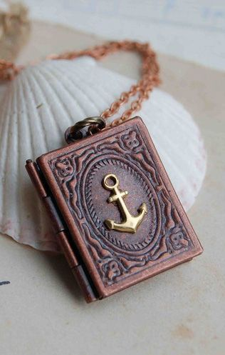 I want it!!!!!!!!!!! ---Nautical Anchor Book Locket Necklace Sailor