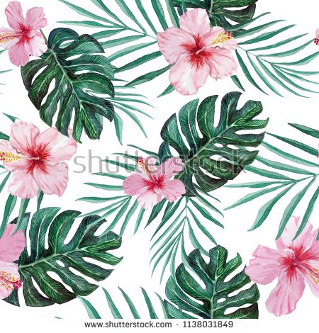 Hand Drawn Tropical Hibiscus Flowers Palm And Monstera Leaves Seamless Watercolor Pattern B Hibiscus Flower Drawing Hibiscus Flowers Plants With Pink Flowers