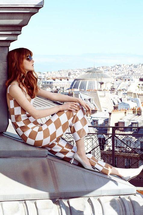 paris rooftops wearing LV ...