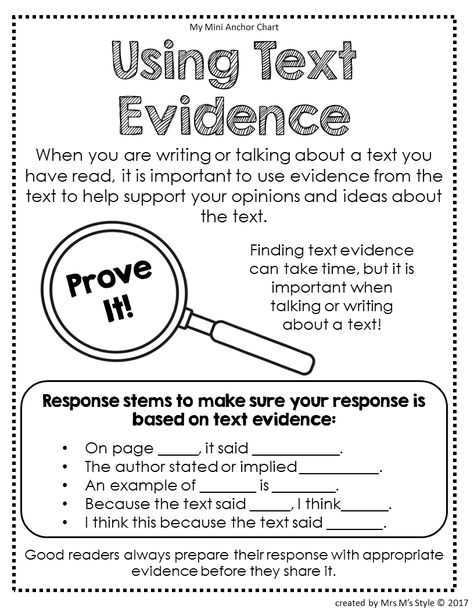 Using Text Evidence Anchor Chart