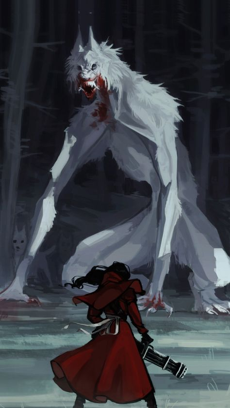 Little Red Riding Hood, Wolf, Fantasy, Art, background picture Fantasy Monster, Monster Art, Monster Concept Art, Arte Horror, Horror Art, Fantasy Character Design, Character Art, Red Riding Hood Wolf, Werewolf Art