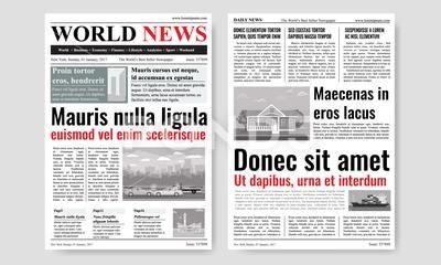 Newspaper Template Design With Images Mock Up Of Two Pages Vector Illustration Stock Illustration Ad Images Mock Design Newspaper