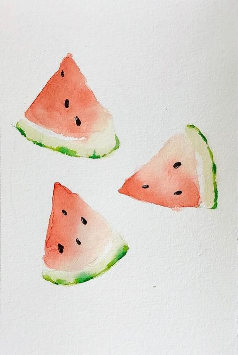 Watermelon Watercolor Painting Tutorial and Home Decor ideas – Mahsa Watercolor … - Fruit Painting Tutorial, Watercolor Fruit, Watermelon Painting, Beginner Painting, Watercolor Artist, Watercolor Paintings Tutorials, Painting Art Projects, Canvas Art Painting, Watercolor Paintings For Beginners