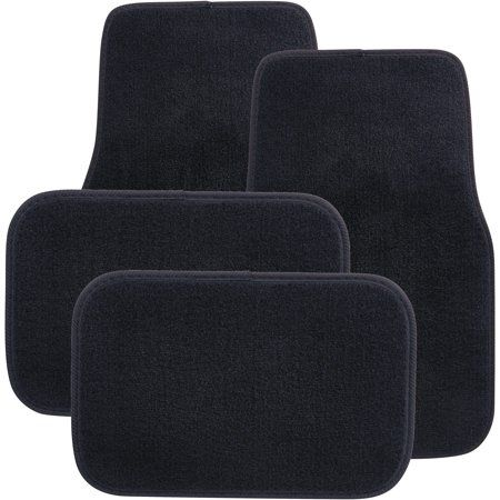 Auto Drive 4pc Carpet Floor Mats Everyday Black Luxury All Weather Protection Walmart Com Floor Finishes Floor Mats Heavy Duty