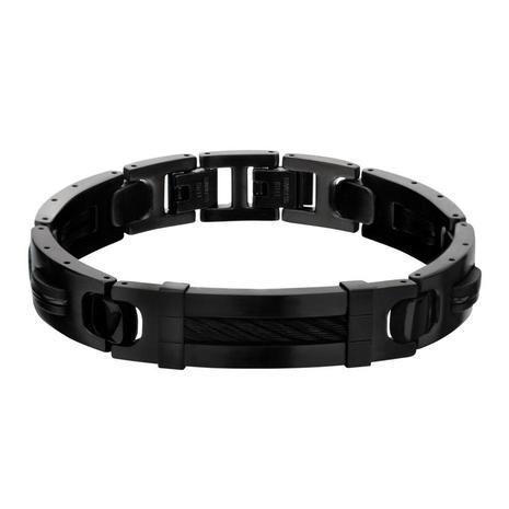 Inox Plated Black With Id Plate Link Bracelet Br1198k Mens Accessories Bracelet Stainless Steel Bracelet Men Mens Jewelry Bracelet